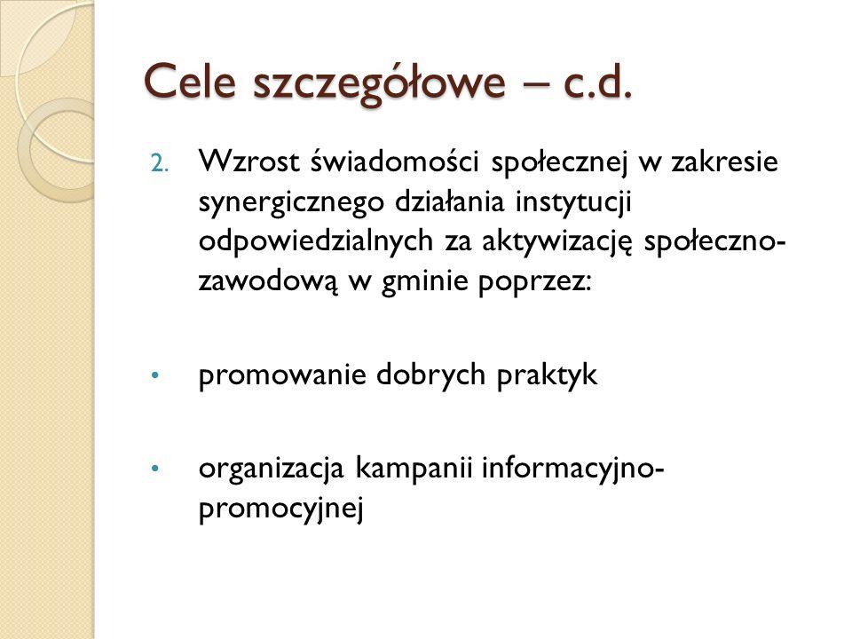 Cele szczegółowe – c.d.2.