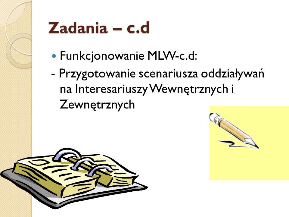 Zadania – c.d Funkcjonowanie MLW-c.d: - Przygotowanie scenariusza oddziaływań na Interesariuszy Wewnętrznych i Zewnętrznych