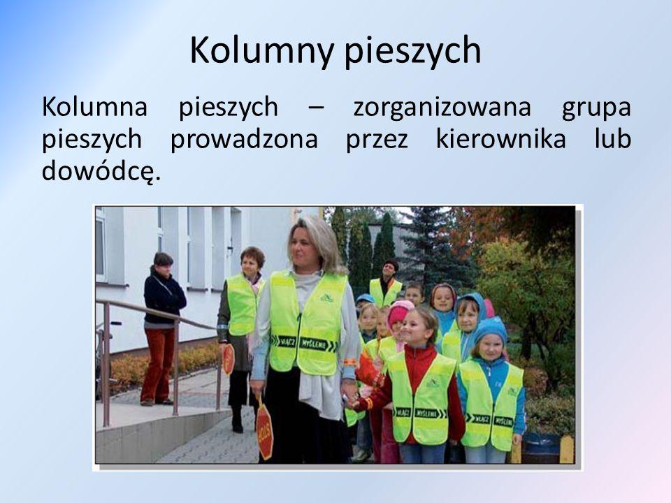 Kolumny pieszych Kolumna pieszych – zorganizowana grupa pieszych prowadzona przez kierownika lub dowódcę.