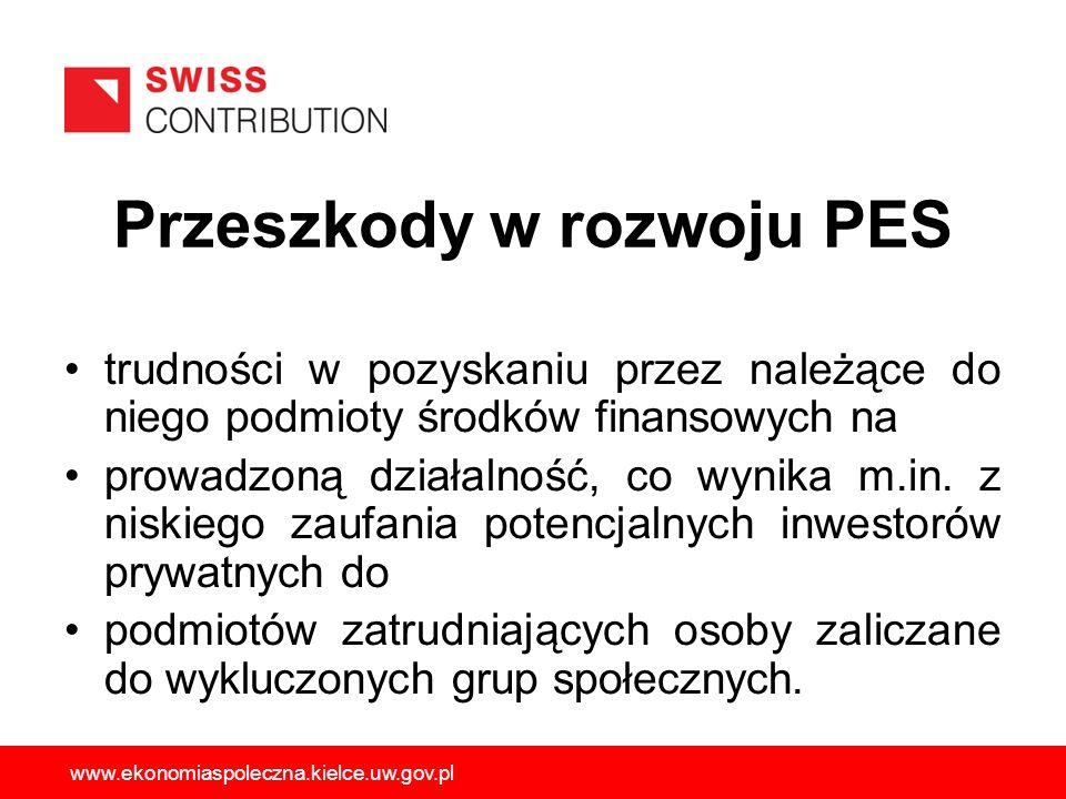 Przeszkody w rozwoju PES trudności w pozyskaniu przez należące do niego podmioty środków finansowych na prowadzoną działalność, co wynika m.in. z nisk