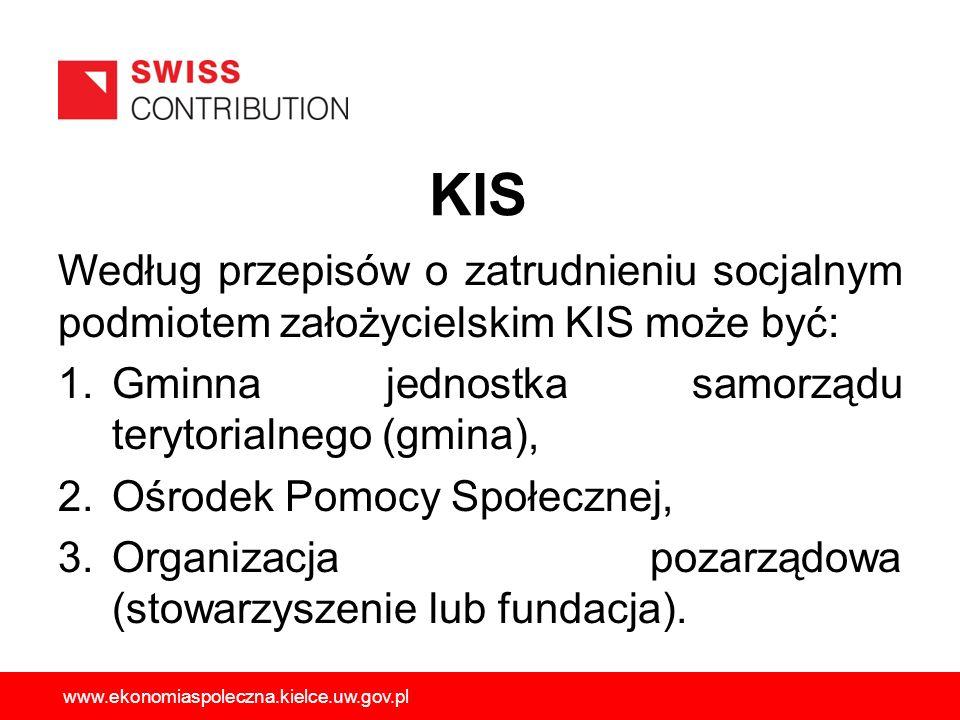 KIS Według przepisów o zatrudnieniu socjalnym podmiotem założycielskim KIS może być: 1.Gminna jednostka samorządu terytorialnego (gmina), 2.Ośrodek Po