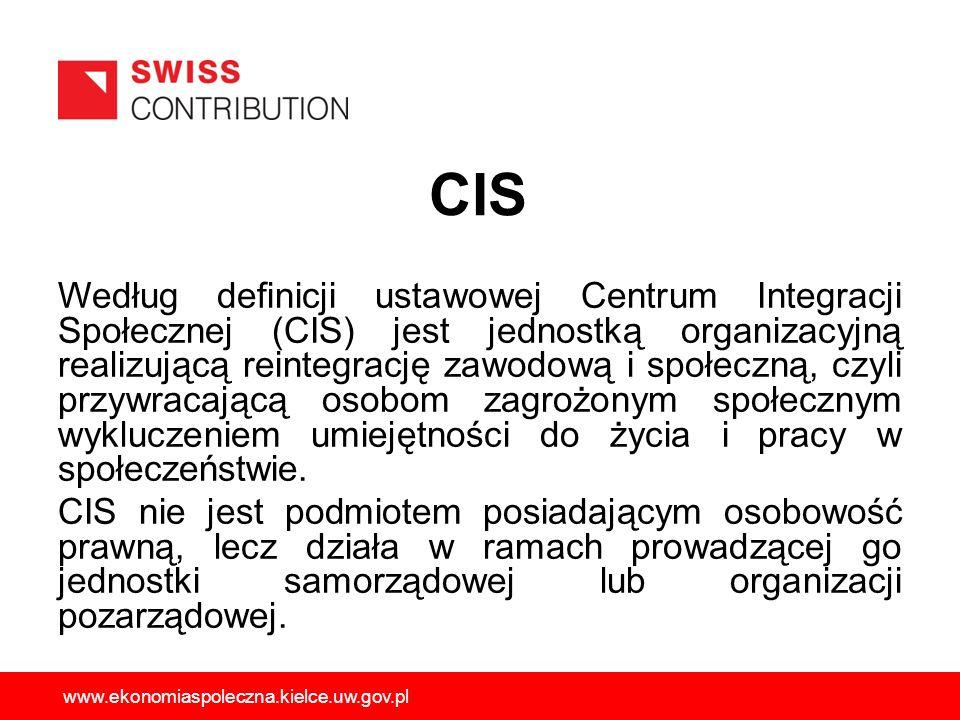 Według definicji ustawowej Centrum Integracji Społecznej (CIS) jest jednostką organizacyjną realizującą reintegrację zawodową i społeczną, czyli przyw