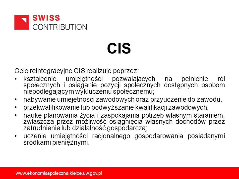 Cele reintegracyjne CIS realizuje poprzez: kształcenie umiejętności pozwalających na pełnienie ról społecznych i osiąganie pozycji społecznych dostępn