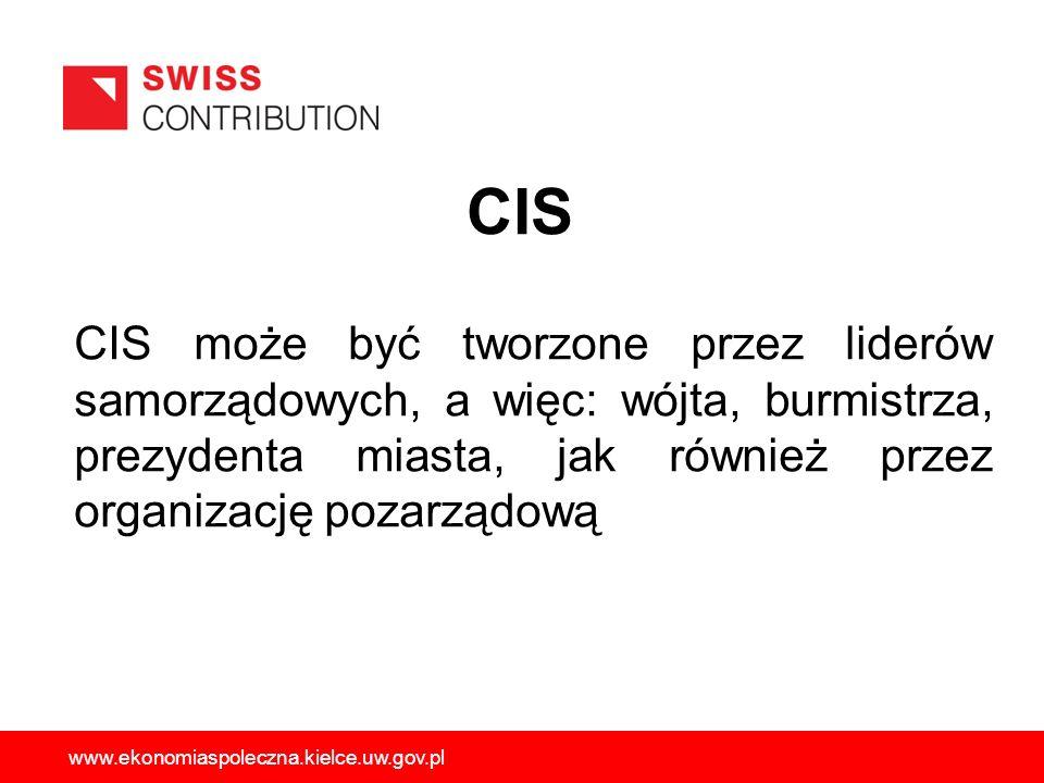 CIS może być tworzone przez liderów samorządowych, a więc: wójta, burmistrza, prezydenta miasta, jak również przez organizację pozarządową www.ekonomi