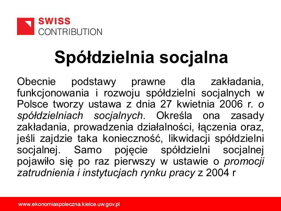 Spółdzielnia socjalna Obecnie podstawy prawne dla zakładania, funkcjonowania i rozwoju spółdzielni socjalnych w Polsce tworzy ustawa z dnia 27 kwietni