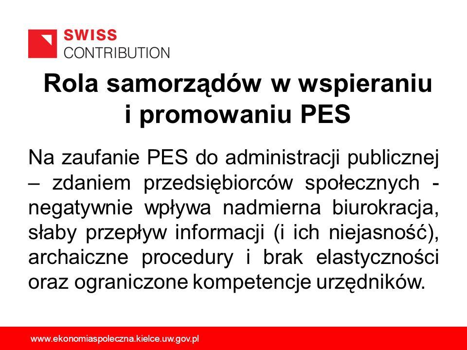 Rola samorządów w wspieraniu i promowaniu PES Na zaufanie PES do administracji publicznej – zdaniem przedsiębiorców społecznych - negatywnie wpływa na