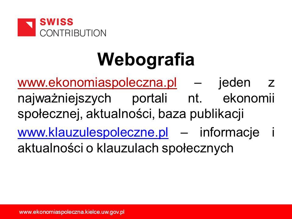 Webografia www.ekonomiaspoleczna.pl – jeden z najważniejszych portali nt. ekonomii społecznej, aktualności, baza publikacji www.klauzulespoleczne.plww