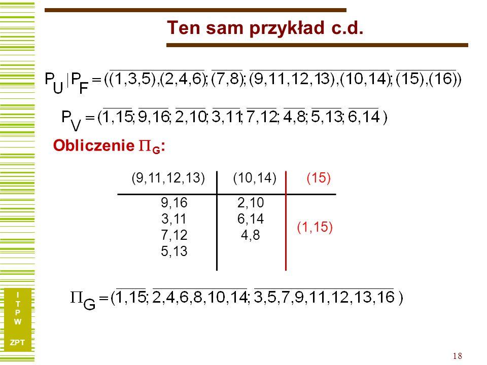 I T P W ZPT 17 Ten sam przykład c.d. cde ab 000001010011100101110111 001 01 010 01 11 10 0100 01 1101 cde ab 000001010011100101110111 001 23 456 01 78