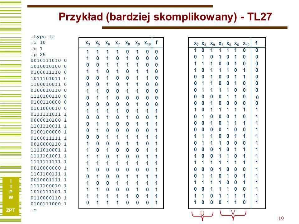 I T P W ZPT 18 Ten sam przykład c.d. Obliczenie G : (9,11,12,13)(10,14) 2,10 6,14 4,8 9,16 3,11 7,12 5,13 (15) (1,15)