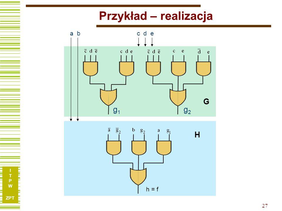 I T P W ZPT 26 Przykład – funkcja h g 1 g 2 ab 00011110 00100- 0111-- 1101-- 10001- Uwaga: Przestawiliśmy wiersze