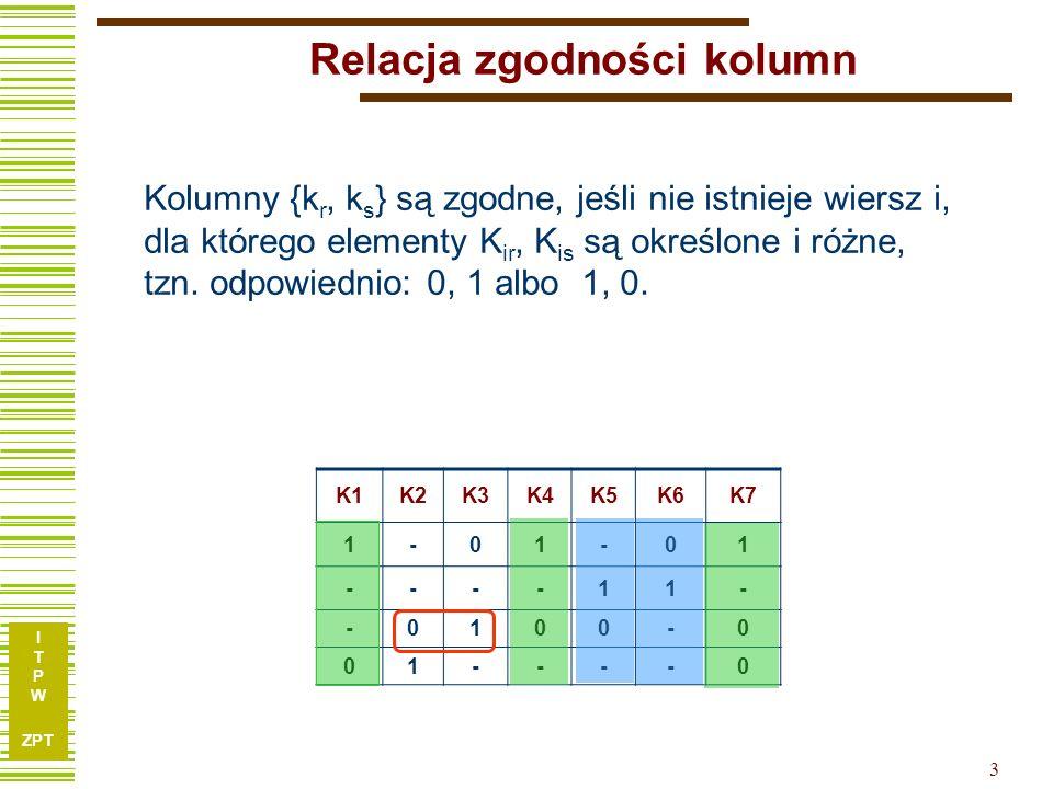 I T P W ZPT 2 Relacja zgodności kolumn Jak obliczać dekompozycję