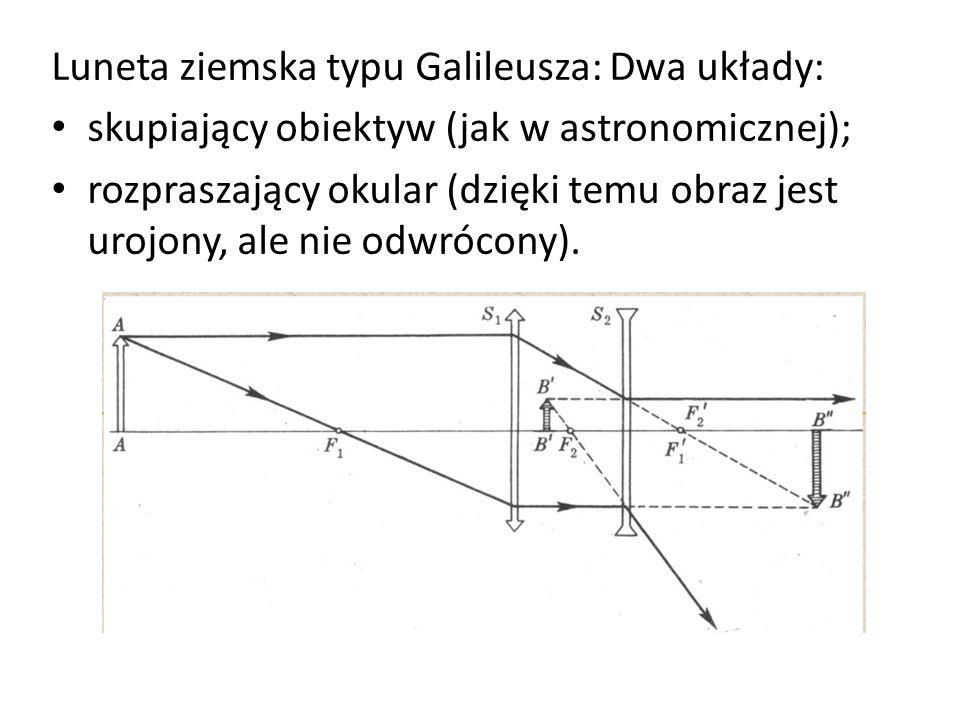 Luneta ziemska typu Galileusza: Dwa układy: skupiający obiektyw (jak w astronomicznej); rozpraszający okular (dzięki temu obraz jest urojony, ale nie odwrócony).