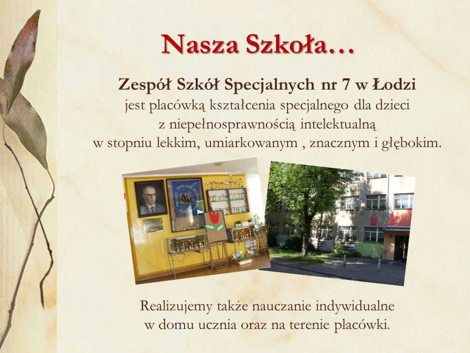 Nasza Szkoła… Zespół Szkół Specjalnych nr 7 w Łodzi jest placówką kształcenia specjalnego dla dzieci z niepełnosprawnością intelektualną w stopniu lekkim, umiarkowanym, znacznym i głębokim.