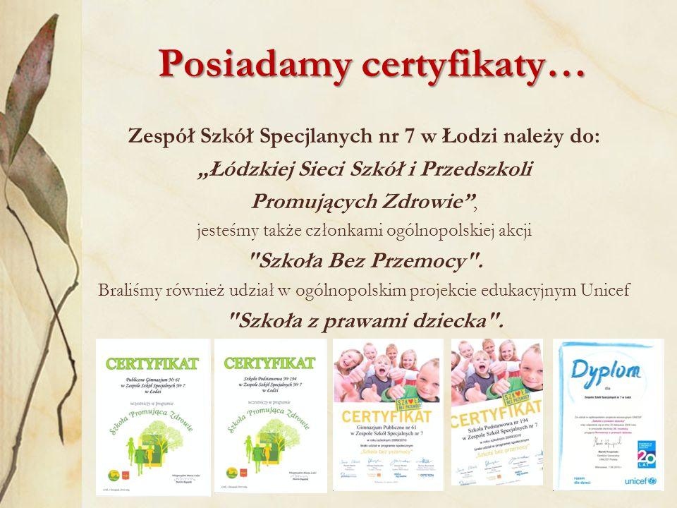 Nasza Oferta… Zespół Szkół Specjalnych nr 7 w Łodzi proponuje zapisy do: Oddziału Przedszkolnego dla dzieci od 3 do 8 roku życia z niepełnosprawnością intelektualną w stopniu umiarkowanym i znacznym oraz niepełnosprawnościami sprzężonymi Udział w zajęciach przedszkolnych jest BEZPŁATNY.