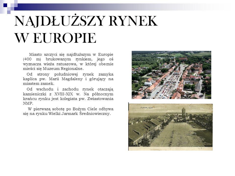 NAJD Ł U Ż SZY RYNEK W EUROPIE Miasto szczyci się najdłuższym w Europie (400 m) brukowanym rynkiem, jego oś wyznacza wieża ratuszowa, w której obecnie