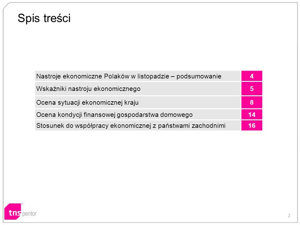 2 Spis treści Nastroje ekonomiczne Polaków w listopadzie – podsumowanie4 Wskaźniki nastroju ekonomicznego5 Ocena sytuacji ekonomicznej kraju8 Ocena kondycji finansowej gospodarstwa domowego14 Stosunek do współpracy ekonomicznej z państwami zachodnimi16