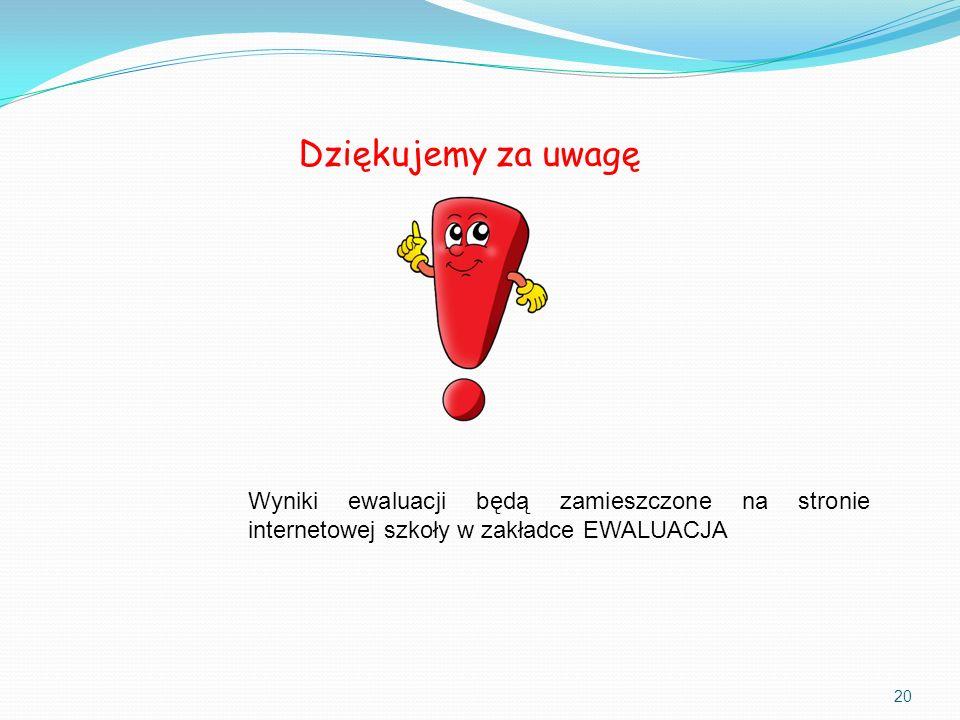 Dziękujemy za uwagę 20 Wyniki ewaluacji będą zamieszczone na stronie internetowej szkoły w zakładce EWALUACJA