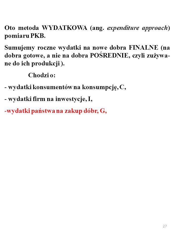26 Oto metoda WYDATKOWA (ang. expenditure approach) pomiaru PKB.
