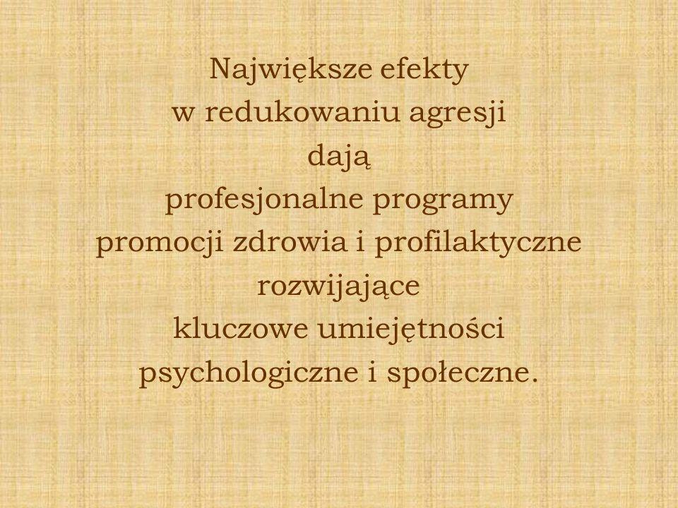Największe efekty w redukowaniu agresji dają profesjonalne programy promocji zdrowia i profilaktyczne rozwijające kluczowe umiejętności psychologiczne