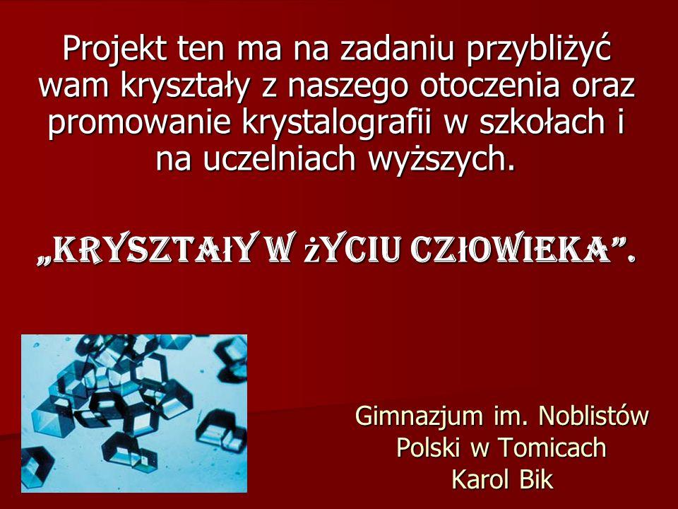 Gimnazjum im. Noblistów Polski w Tomicach Karol Bik Projekt ten ma na zadaniu przybliżyć wam kryształy z naszego otoczenia oraz promowanie krystalogra