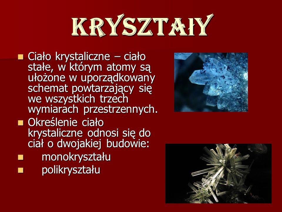 Kryszta ł y Ciało krystaliczne – ciało stałe, w którym atomy są ułożone w uporządkowany schemat powtarzający się we wszystkich trzech wymiarach przest