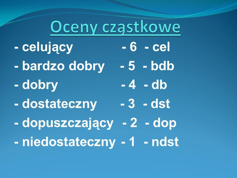 - celujący - 6 - cel - bardzo dobry - 5 - bdb - dobry - 4 - db - dostateczny - 3 - dst - dopuszczający - 2 - dop - niedostateczny - 1 - ndst
