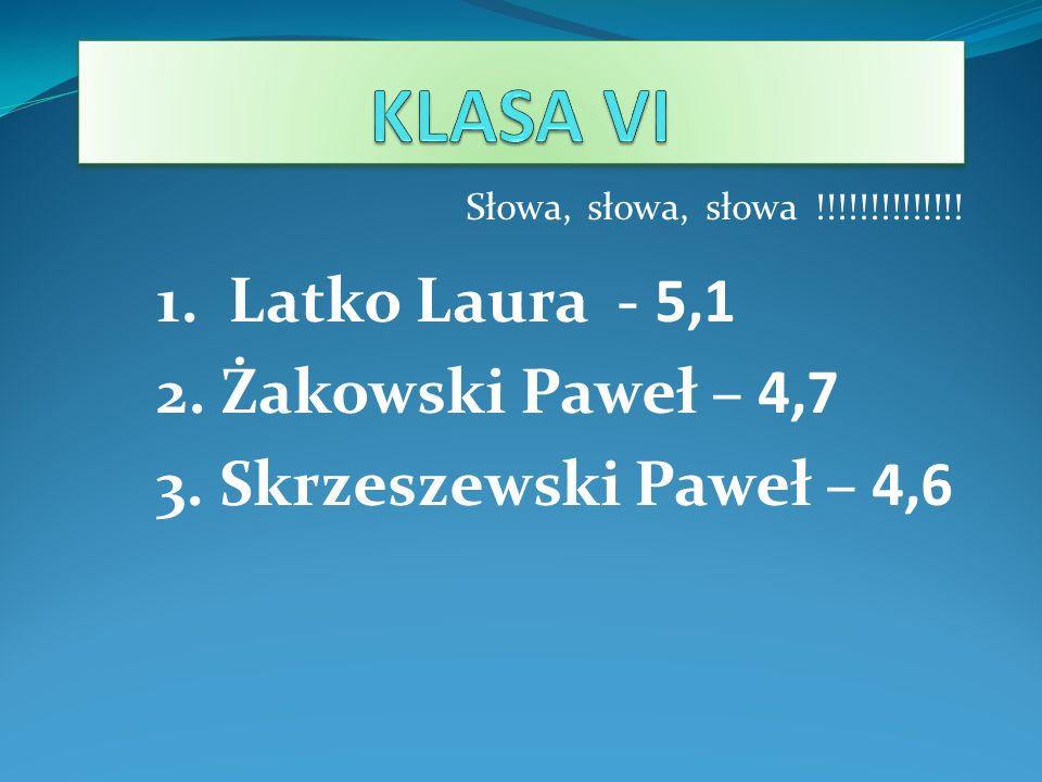 Słowa, słowa, słowa !!!!!!!!!!!!!! 1. Latko Laura - 5,1 2. Żakowski Paweł – 4,7 3. Skrzeszewski Paweł – 4,6