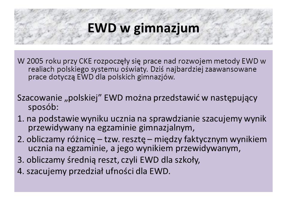 Punkty reprezentujące wyniki uczniów z całej Polski w danym roku układają się w chmurę, dla której wyznacza się tzw.