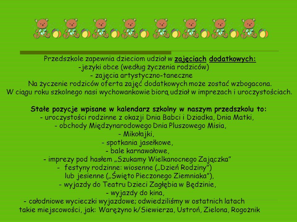 Przedszkole zapewnia dzieciom udział w zajęciach dodatkowych: -jezyki obce (według życzenia rodziców) - zajęcia artystyczno-taneczne Na życzenie rodzi