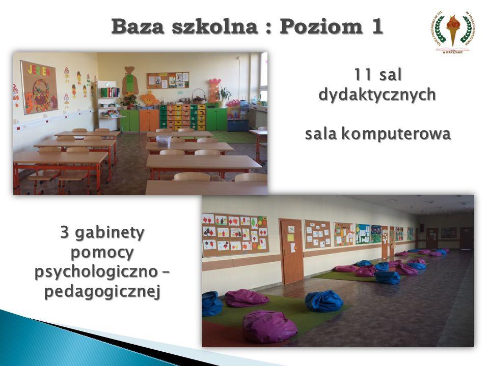 Baza szkolna : Poziom 2 12 sal dydaktycznych gabinet pedagoga sala integracji sensorycznej