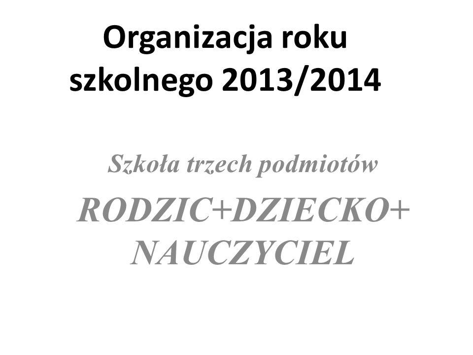 Organizacja roku szkolnego 2013/2014 Szkoła trzech podmiotów RODZIC+DZIECKO+ NAUCZYCIEL