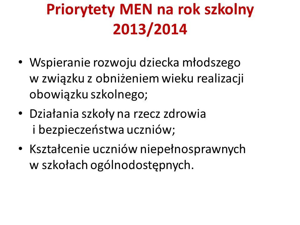 Priorytety MEN na rok szkolny 2013/2014 Wspieranie rozwoju dziecka młodszego w związku z obniżeniem wieku realizacji obowiązku szkolnego; Działania szkoły na rzecz zdrowia i bezpieczeństwa uczniów; Kształcenie uczniów niepełnosprawnych w szkołach ogólnodostępnych.