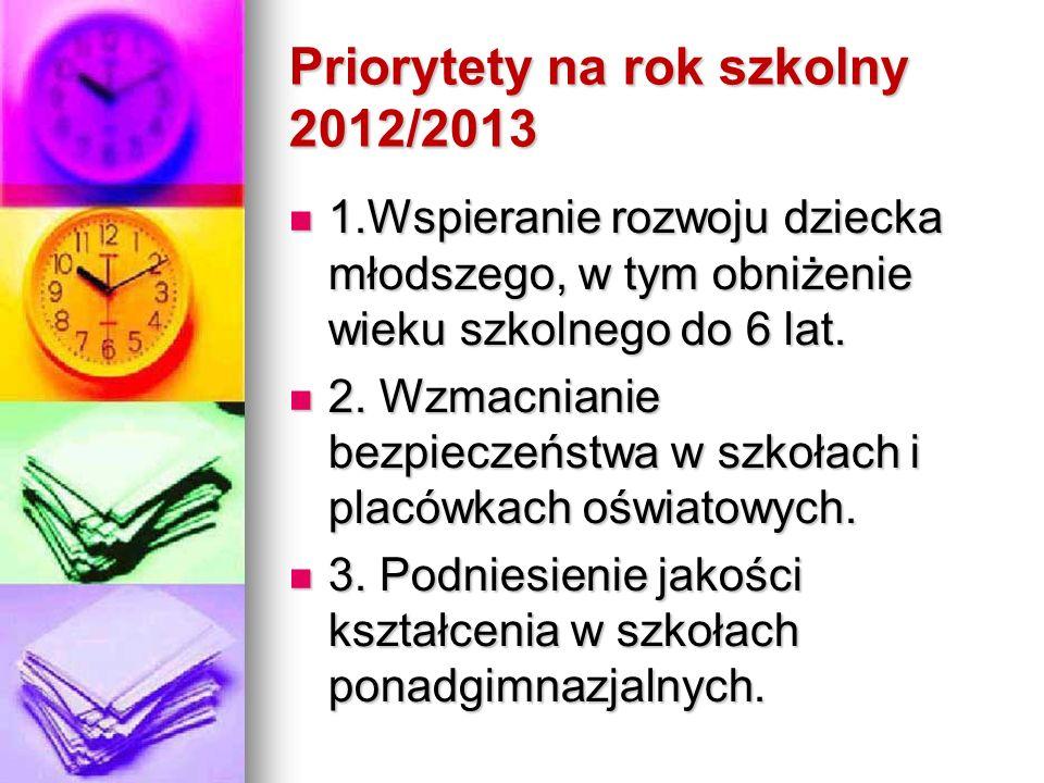 Priorytety na rok szkolny 2012/2013 1.Wspieranie rozwoju dziecka młodszego, w tym obniżenie wieku szkolnego do 6 lat.
