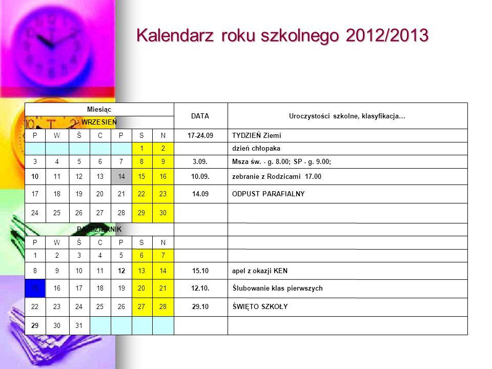 Kalendarz roku szkolnego 2012/2013