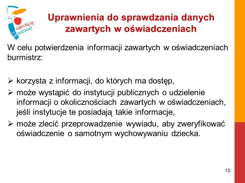 Uprawnienia do sprawdzania danych zawartych w oświadczeniach W celu potwierdzenia informacji zawartych w oświadczeniach burmistrz: korzysta z informacji, do których ma dostęp, może wystąpić do instytucji publicznych o udzielenie informacji o okolicznościach zawartych w oświadczeniach, jeśli instytucje te posiadają takie informacje, może zlecić przeprowadzenie wywiadu, aby zweryfikować oświadczenie o samotnym wychowywaniu dziecka.