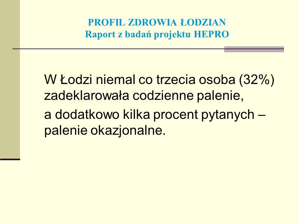 PROFIL ZDROWIA ŁODZIAN Raport z badań projektu HEPRO W Łodzi niemal co trzecia osoba (32%) zadeklarowała codzienne palenie, a dodatkowo kilka procent
