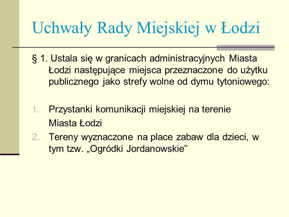 Uchwały Rady Miejskiej w Łodzi § 1. Ustala się w granicach administracyjnych Miasta Łodzi następujące miejsca przeznaczone do użytku publicznego jako