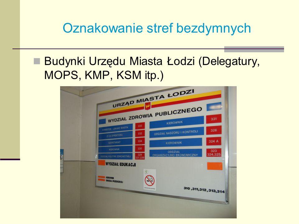 Oznakowanie stref bezdymnych Budynki Urzędu Miasta Łodzi (Delegatury, MOPS, KMP, KSM itp.)