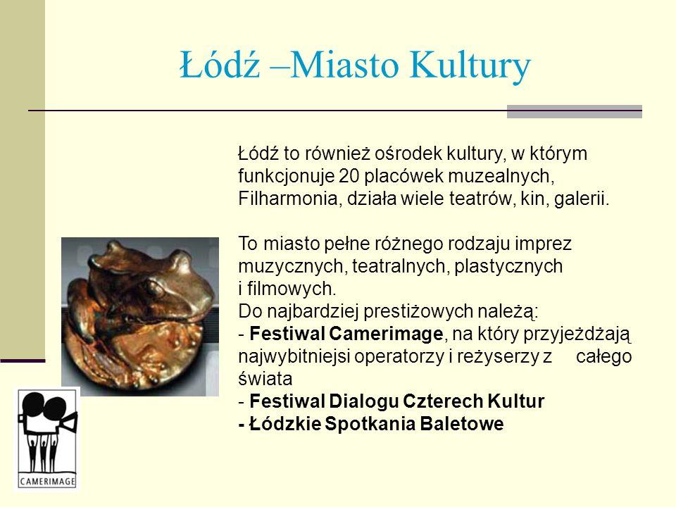 Łódź –Miasto Kultury Łódź to również ośrodek kultury, w którym funkcjonuje 20 placówek muzealnych, Filharmonia, działa wiele teatrów, kin, galerii. To