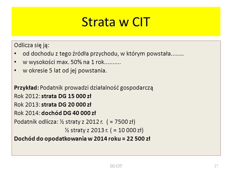 Strata w CIT Odlicza się ją: od dochodu z tego źródła przychodu, w którym powstała........ w wysokości max. 50% na 1 rok.......... w okresie 5 lat od