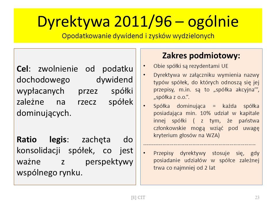 Dyrektywa 2011/96 – ogólnie Opodatkowanie dywidend i zysków wydzielonych Cel: zwolnienie od podatku dochodowego dywidend wypłacanych przez spółki zale