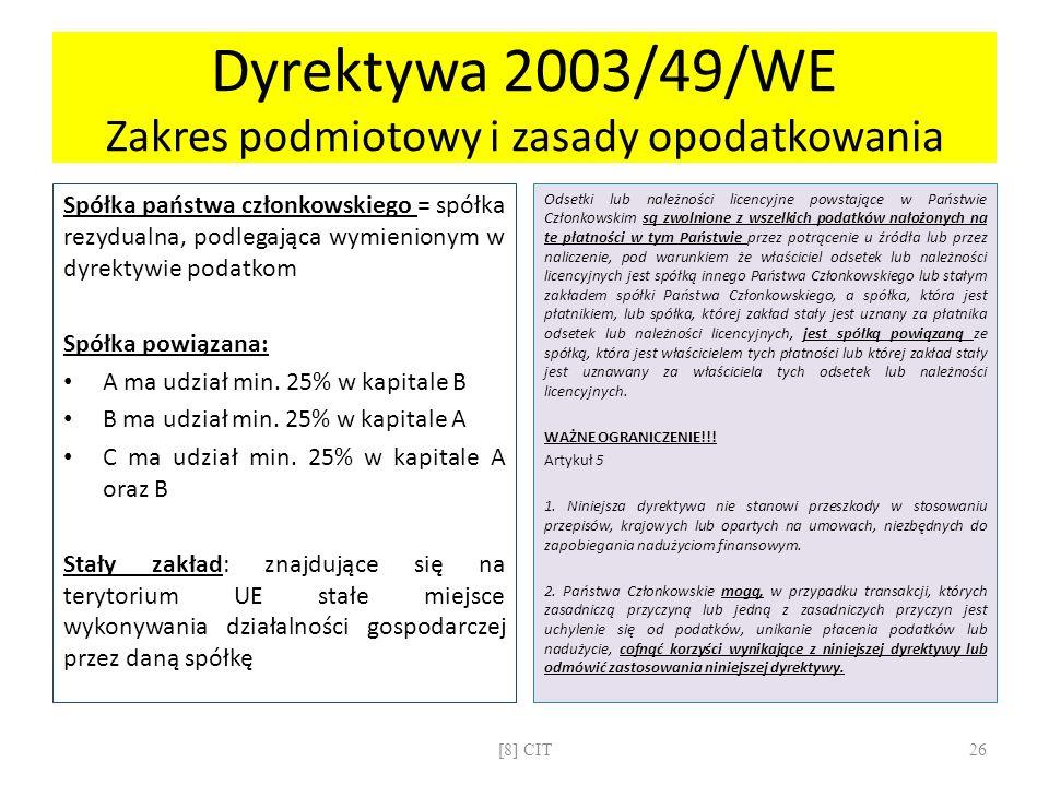 Dyrektywa 2003/49/WE Zakres podmiotowy i zasady opodatkowania Spółka państwa członkowskiego = spółka rezydualna, podlegająca wymienionym w dyrektywie