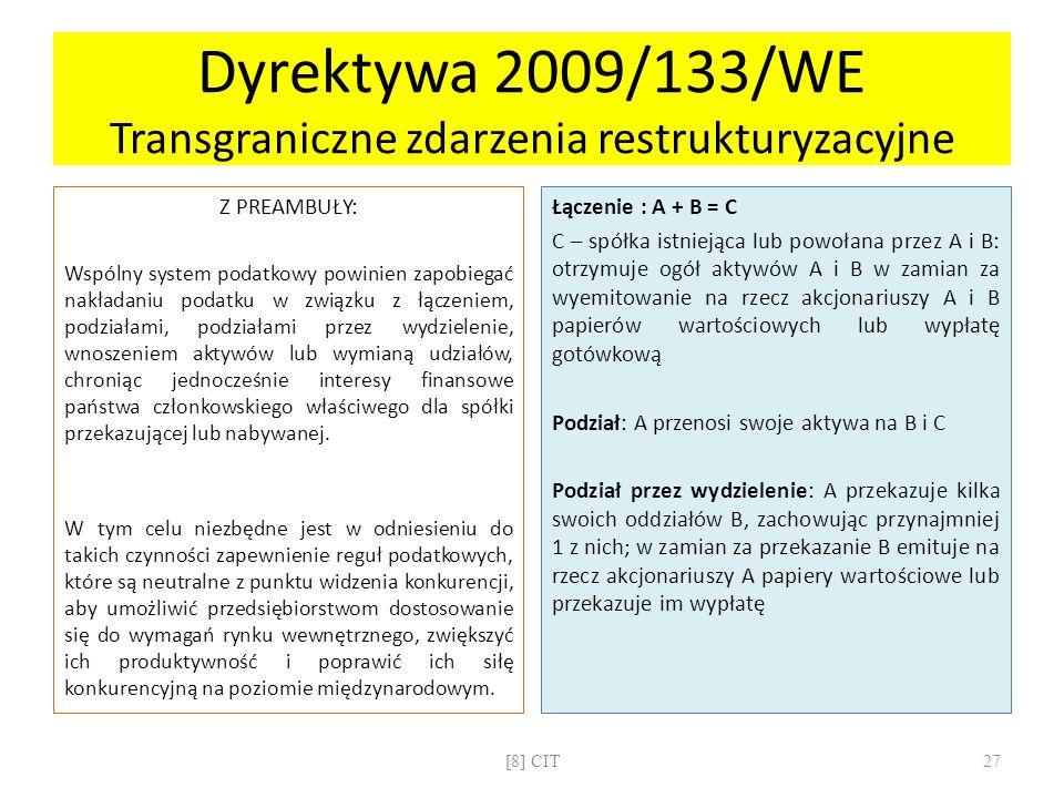 Dyrektywa 2009/133/WE Transgraniczne zdarzenia restrukturyzacyjne Z PREAMBUŁY: Wspólny system podatkowy powinien zapobiegać nakładaniu podatku w związ