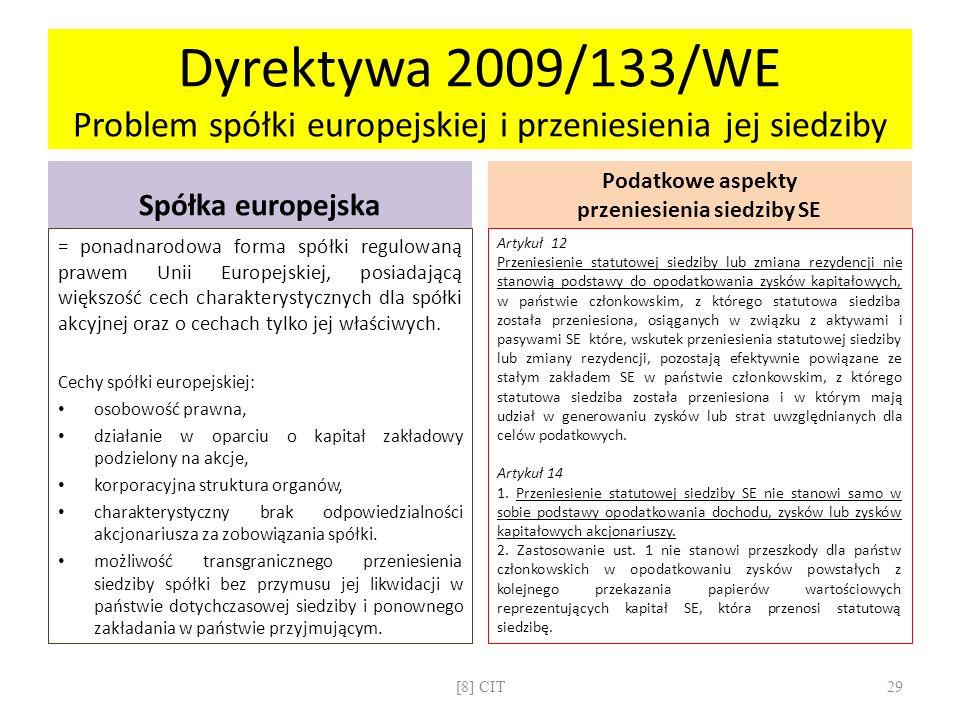 Dyrektywa 2009/133/WE Problem spółki europejskiej i przeniesienia jej siedziby Spółka europejska = ponadnarodowa forma spółki regulowaną prawem Unii E