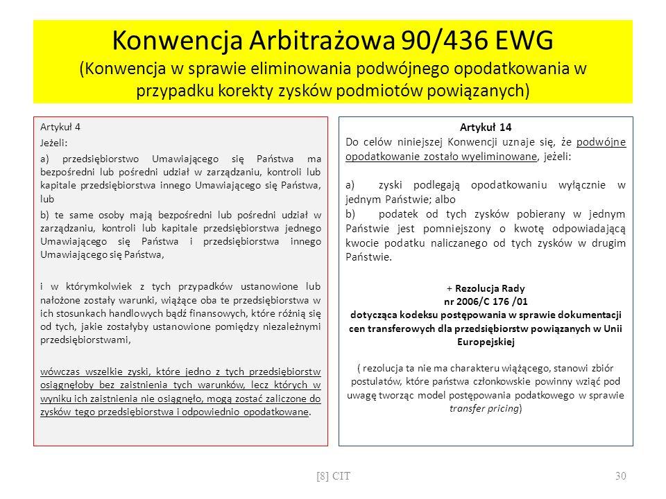 Konwencja Arbitrażowa 90/436 EWG (Konwencja w sprawie eliminowania podwójnego opodatkowania w przypadku korekty zysków podmiotów powiązanych) Artykuł