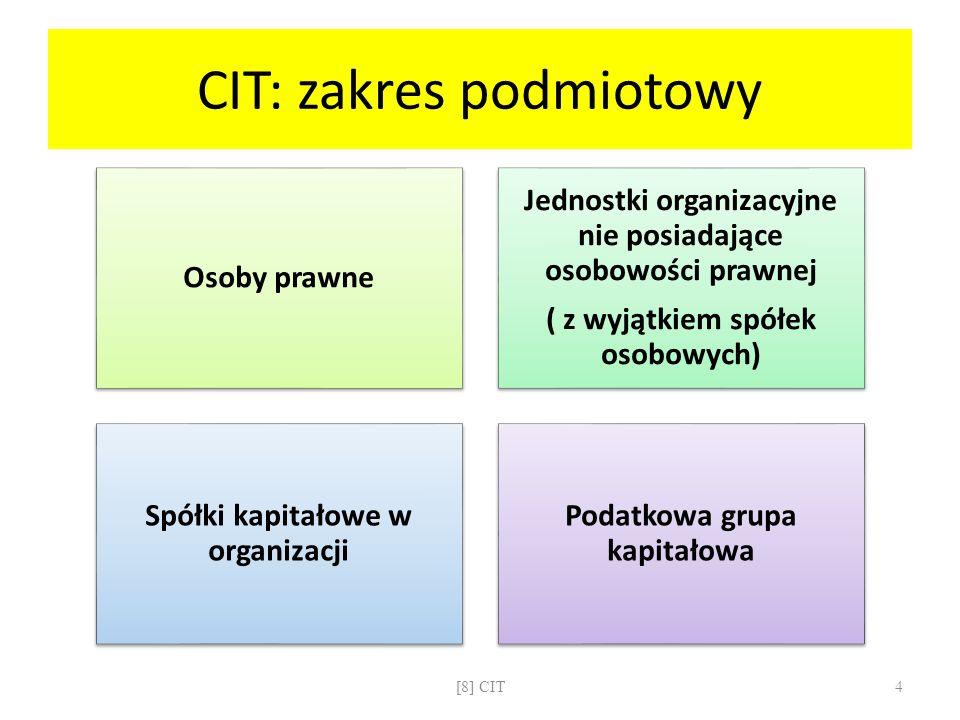 CIT: zakres podmiotowy Osoby prawne Jednostki organizacyjne nie posiadające osobowości prawnej ( z wyjątkiem spółek osobowych) Spółki kapitałowe w org