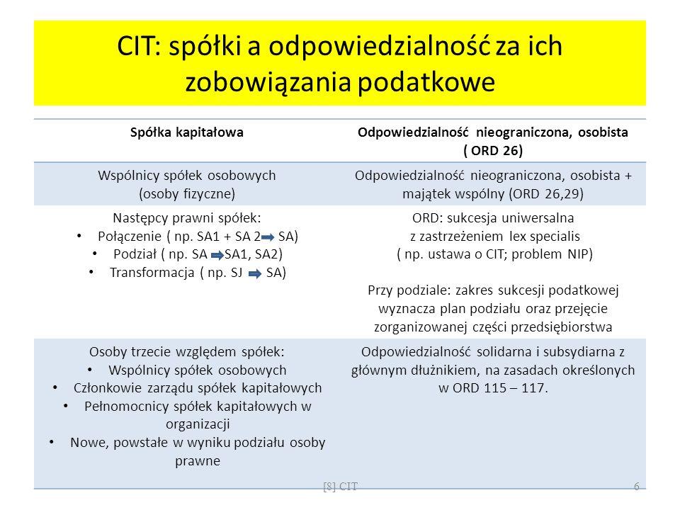 CIT: spółki a odpowiedzialność za ich zobowiązania podatkowe Spółka kapitałowaOdpowiedzialność nieograniczona, osobista ( ORD 26) Wspólnicy spółek oso