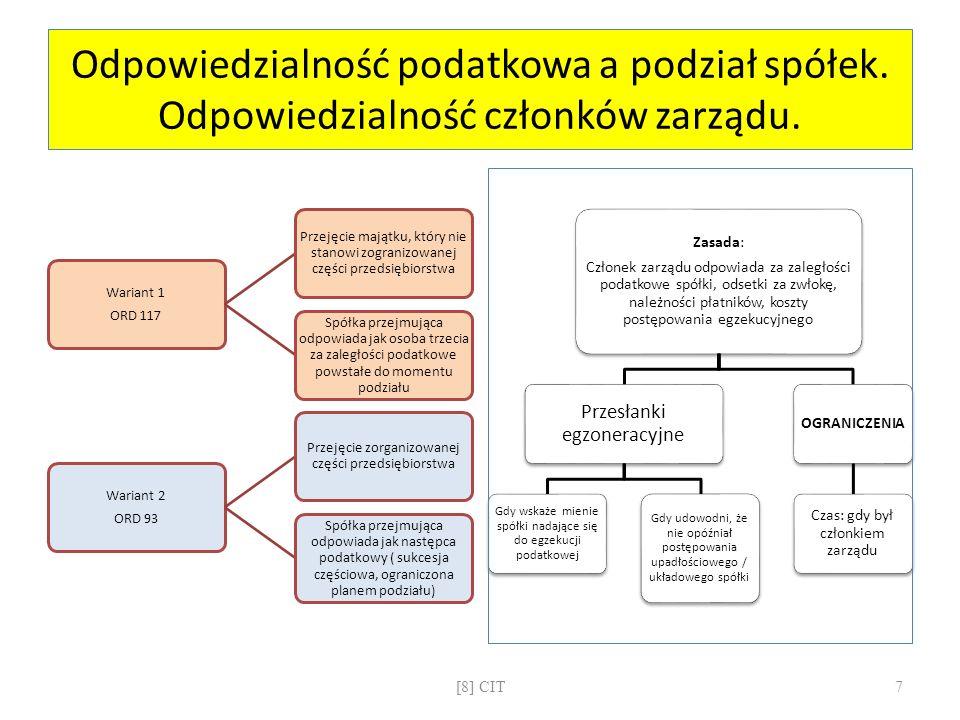 CIT: podatkowa grupa kapitałowa Przesłanki pozytywneZwiązek co najmniej dwóch spółek kapitałowych Status spółek : rezydenci Wysoki kapitał zakładowy spółek (średnia dla PGK > 1 mln zł) Rentowność PGK (relacja: dochód PGK / przychód PGK > 0.03) Dominujący charakter jednej spółki w PGK (95% udziałów w kapitale spółek zależnych; spółki zależne nie posiadają udziałów w innych spółkach tworzących tę PGK) Przesłanki negatywne Zaległości w podatkach państwowych (14 dni na ich uregulowanie) Zwolnienie spółki od CIT Wykorzystanie nielegalnych powiązań dla obniżenia dochodów FormalnościUmowa w formie aktu notarialnego na minimum 3 lata Rejestracja umowy przez nUS Skutki istnieniaKumulacja dochodów i strat wszystkich spółek Obliczenie i wpłacenie jednego podatku CIT od PGK Solidarna odpowiedzialność spółek w PGK za zobowiązania podatkowe z tytułu CIT [8] CIT8