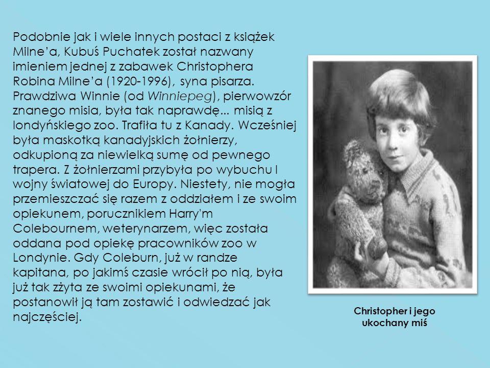 Podobnie jak i wiele innych postaci z książek Milnea, Kubuś Puchatek został nazwany imieniem jednej z zabawek Christophera Robina Milnea (1920-1996),
