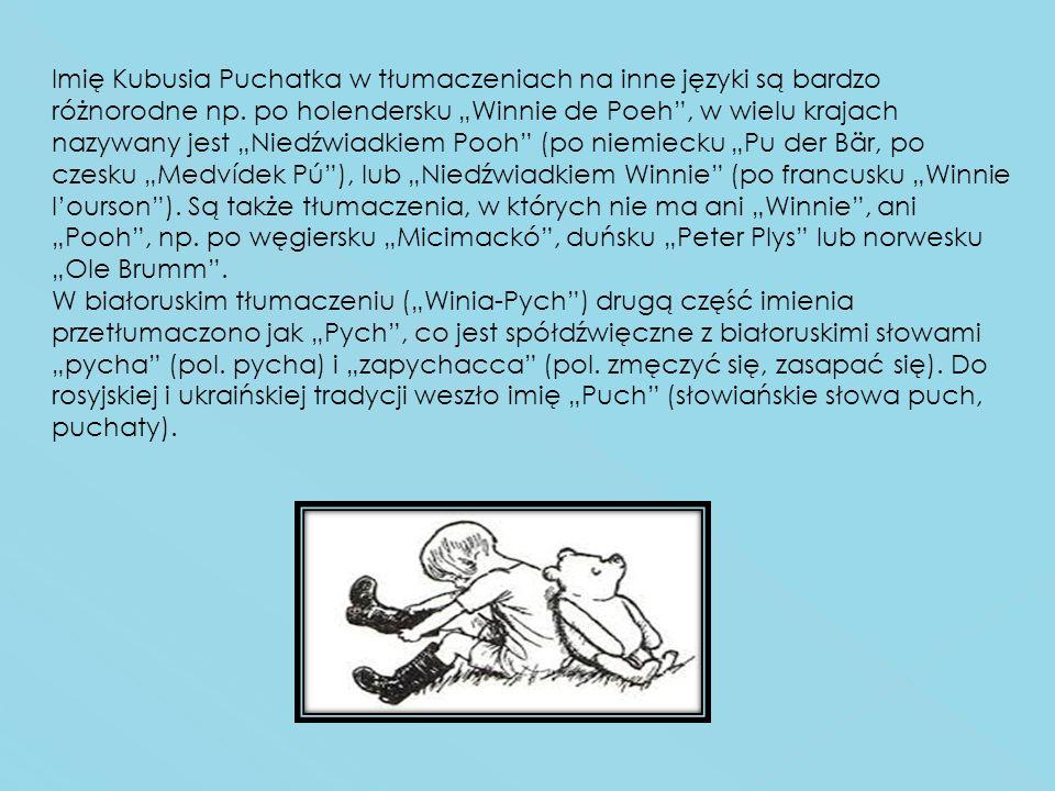 Imię Kubusia Puchatka w tłumaczeniach na inne języki są bardzo różnorodne np. po holendersku Winnie de Poeh, w wielu krajach nazywany jest Niedźwiadki